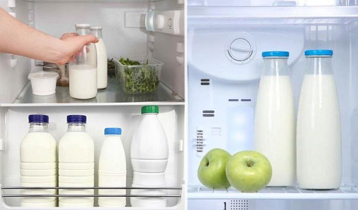 Коровье молоко в холодильнике