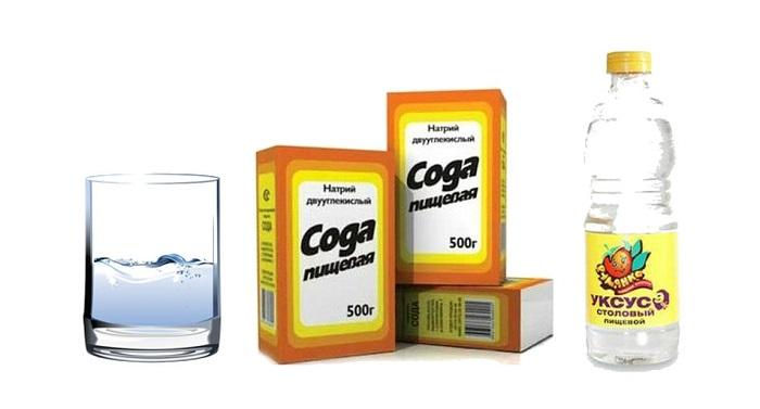 уксус, сода и вода