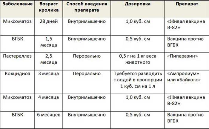 Таблица вакцинации кроликов
